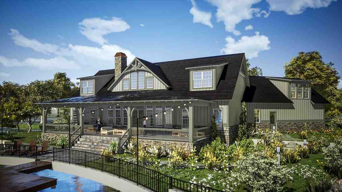 Farmhouse, Traditional House Plan 78502 with 5 Beds, 6 Baths, 2 Car Garage Picture 2