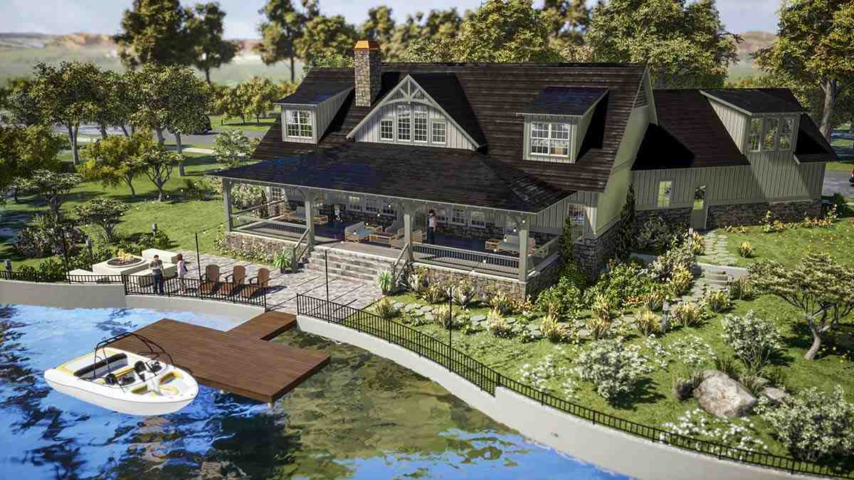 Farmhouse, Traditional House Plan 78502 with 5 Beds, 6 Baths, 2 Car Garage Rear Elevation
