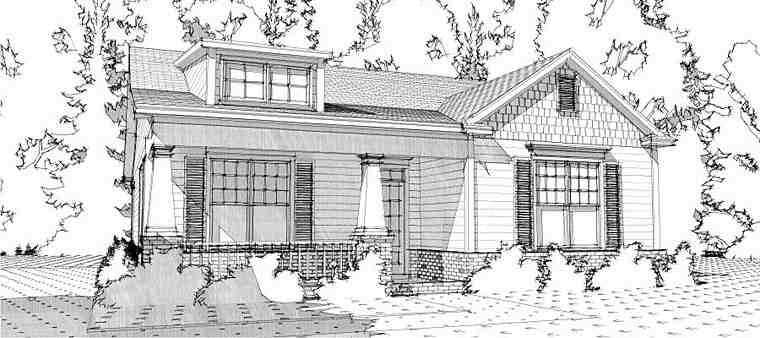 Bungalow, Cottage, Craftsman House Plan 78637 with 2 Beds, 2 Baths, 2 Car Garage Elevation