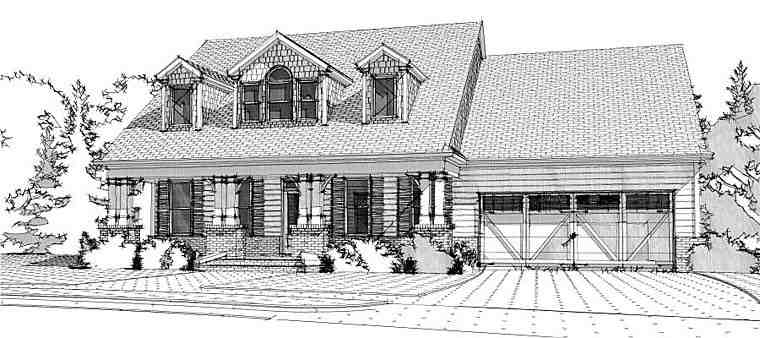 Cape Cod, Country, Traditional House Plan 78656 with 4 Beds, 3 Baths, 2 Car Garage Elevation