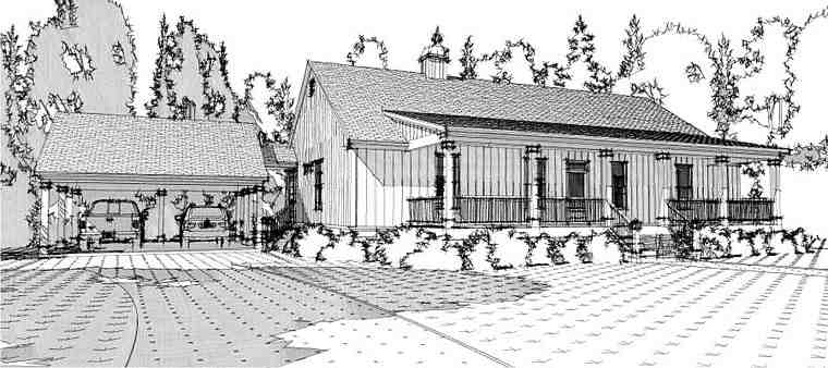Country, Ranch, Southern House Plan 78657 with 3 Beds, 2 Baths, 2 Car Garage Elevation