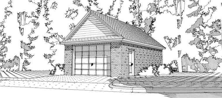 1 Car Garage Plan 78667 Elevation