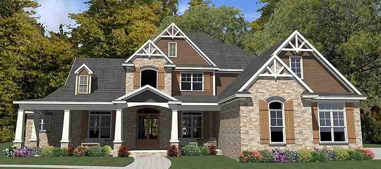 Craftsman, Traditional House Plan 78894 with 5 Beds, 4 Baths, 3 Car Garage Elevation
