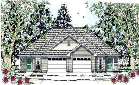 Country Multi-Family Plan 79258 with 4 Beds, 4 Baths, 2 Car Garage Elevation