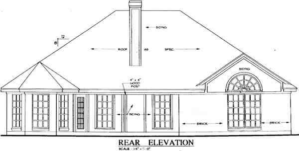 European, Traditional House Plan 79264 with 4 Beds, 2 Baths, 2 Car Garage Rear Elevation