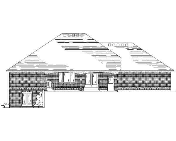 Traditional House Plan 79744 with 5 Beds, 4 Baths, 3 Car Garage Rear Elevation