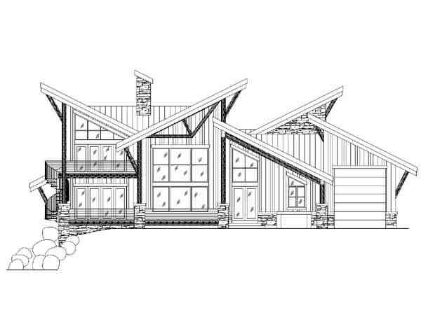 Contemporary, Modern House Plan 79932 with 4 Beds, 4 Baths, 3 Car Garage Rear Elevation