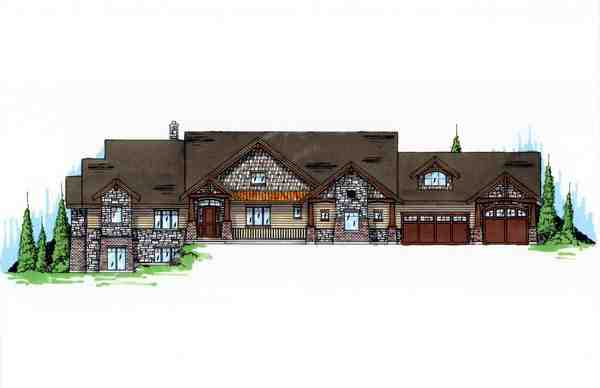Craftsman House Plan 79935 with 4 Beds, 4 Baths, 3 Car Garage Elevation