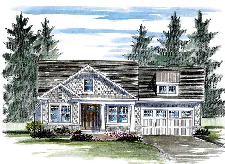 Cottage, Country, Craftsman House Plan 80307 with 2 Beds, 2 Baths, 2 Car Garage Elevation