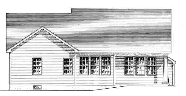 Cottage, Country, Craftsman House Plan 80307 with 2 Beds, 2 Baths, 2 Car Garage Rear Elevation