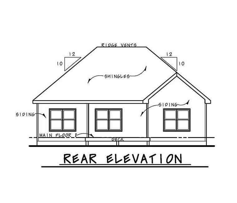 Cottage, Country, Craftsman, Ranch, Traditional House Plan 80406 with 3 Beds, 3 Baths, 2 Car Garage Rear Elevation