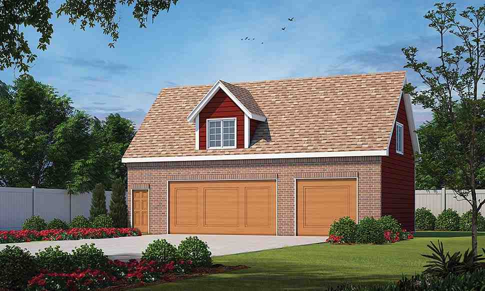 Traditional 3 Car Garage Apartment Plan 80438 with 1 Beds, 1 Baths Elevation