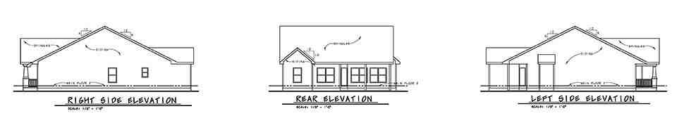 Cottage, Craftsman, Traditional House Plan 80498 with 3 Beds, 2 Baths, 2 Car Garage Rear Elevation