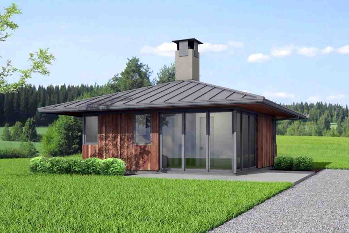 Cabin, Modern House Plan 80503 with 2 Beds, 1 Baths Elevation