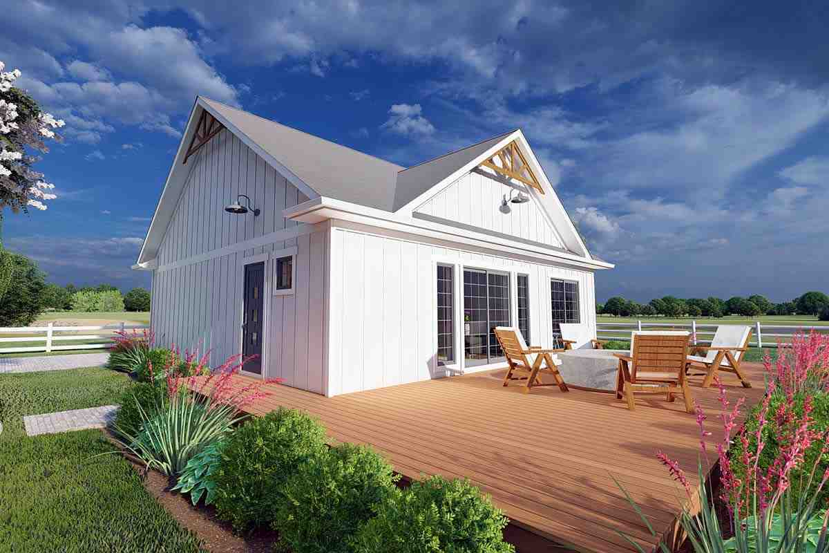 Bungalow, Cabin, Cape Cod, Contemporary, Cottage, Farmhouse, Ranch House Plan 80508 with 1 Beds, 2 Baths Elevation