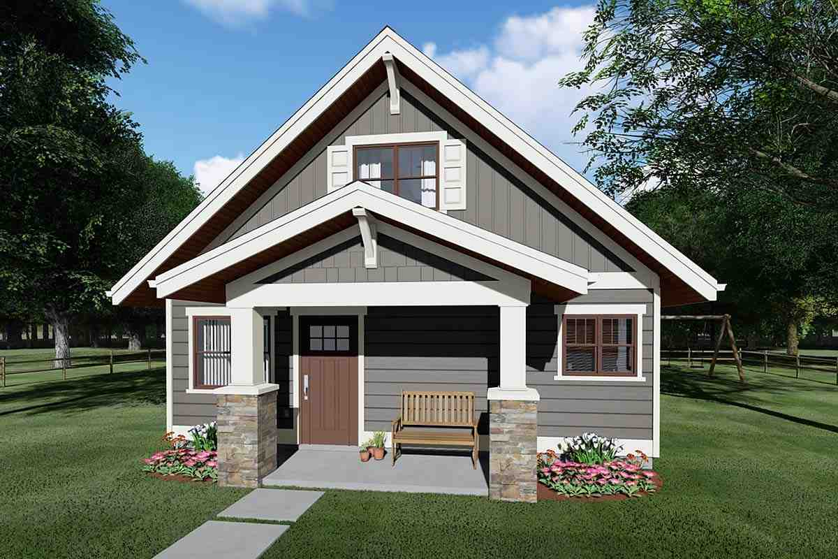 Bungalow, Cottage, Craftsman House Plan 80516 with 2 Beds, 2 Baths Elevation