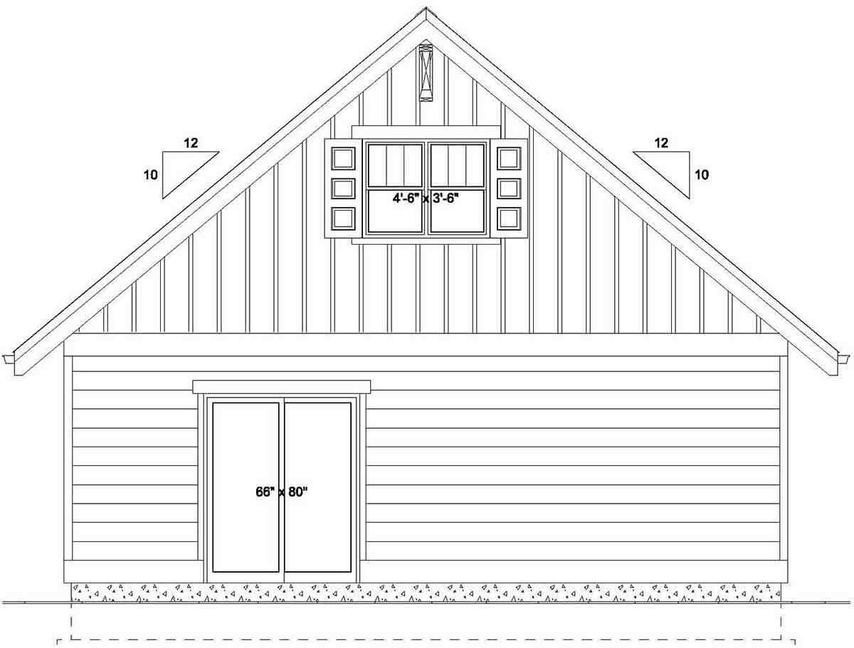 Bungalow, Cottage, Craftsman House Plan 80516 with 2 Beds, 2 Baths Rear Elevation