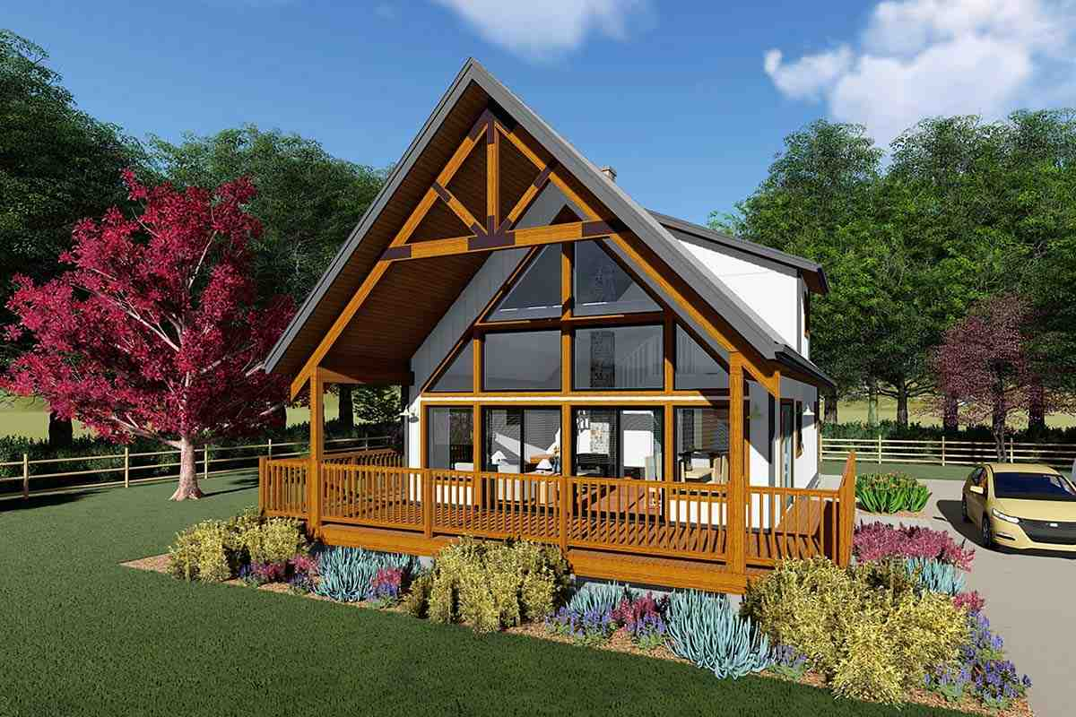 A-Frame, Cabin House Plan 80518 with 2 Beds, 1 Baths Elevation