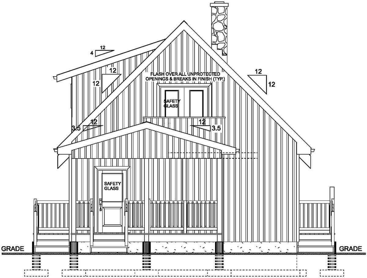 A-Frame, Cabin House Plan 80518 with 2 Beds, 1 Baths Rear Elevation