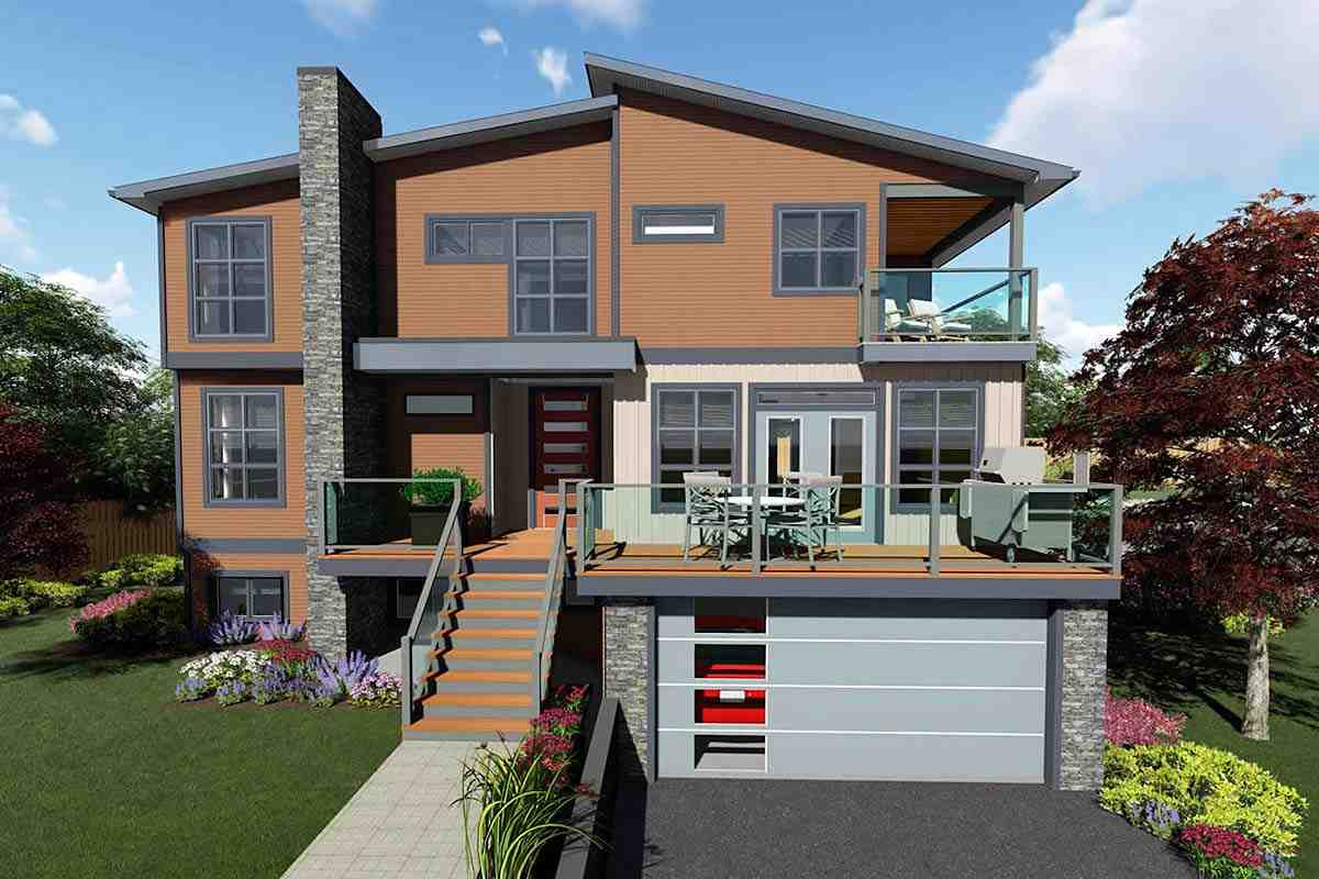 Contemporary, Modern House Plan 80521 with 4 Beds, 3 Baths, 2 Car Garage Elevation