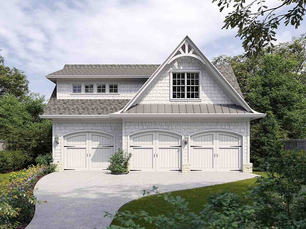 Craftsman, European, French Country 3 Car Garage Plan 80737 Elevation
