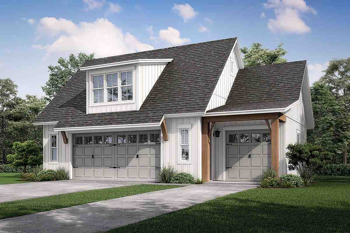 Cottage, Country, Craftsman, Farmhouse 3 Car Garage Apartment Plan 80808 Elevation
