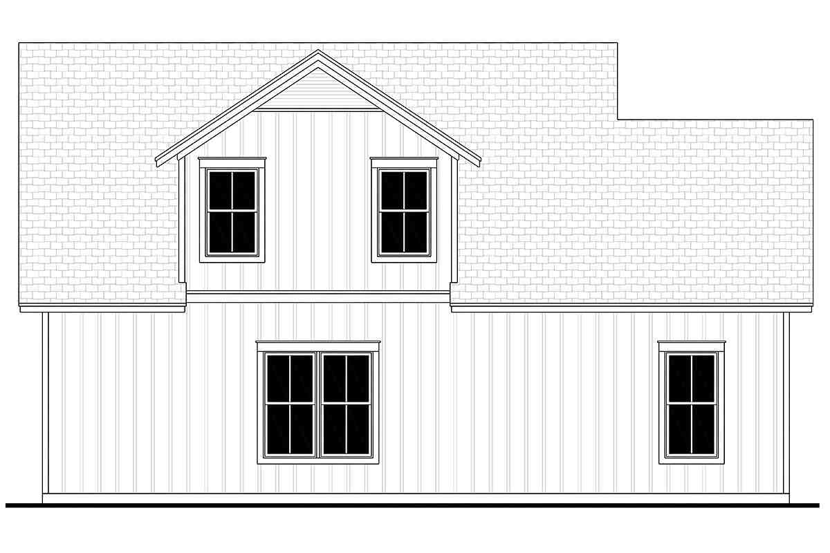 Country, Craftsman, Farmhouse 3 Car Garage Apartment Plan 80809 with 1 Beds, 1 Baths Rear Elevation