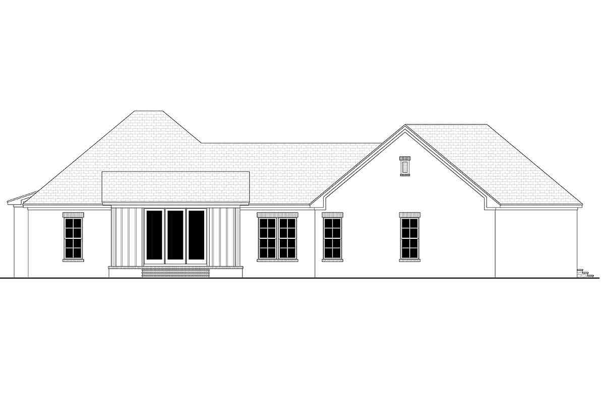 Country, Farmhouse, Traditional House Plan 80812 with 3 Beds, 2 Baths, 3 Car Garage Rear Elevation