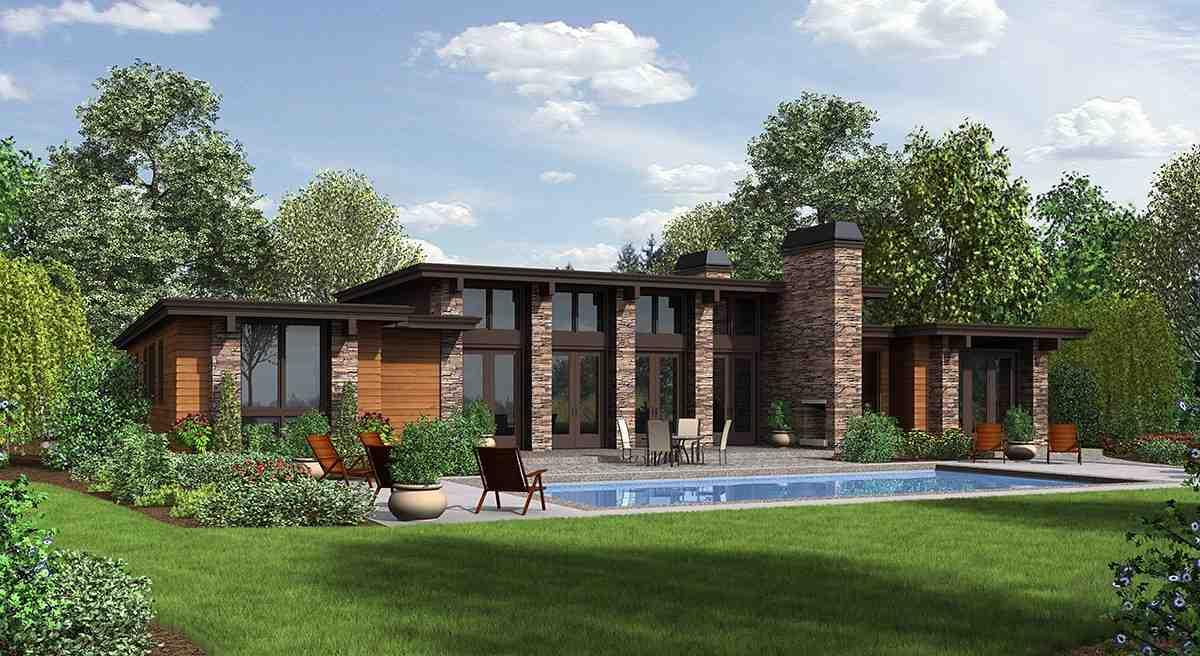 Contemporary, Modern House Plan 81203 with 3 Beds, 3 Baths, 2 Car Garage Rear Elevation