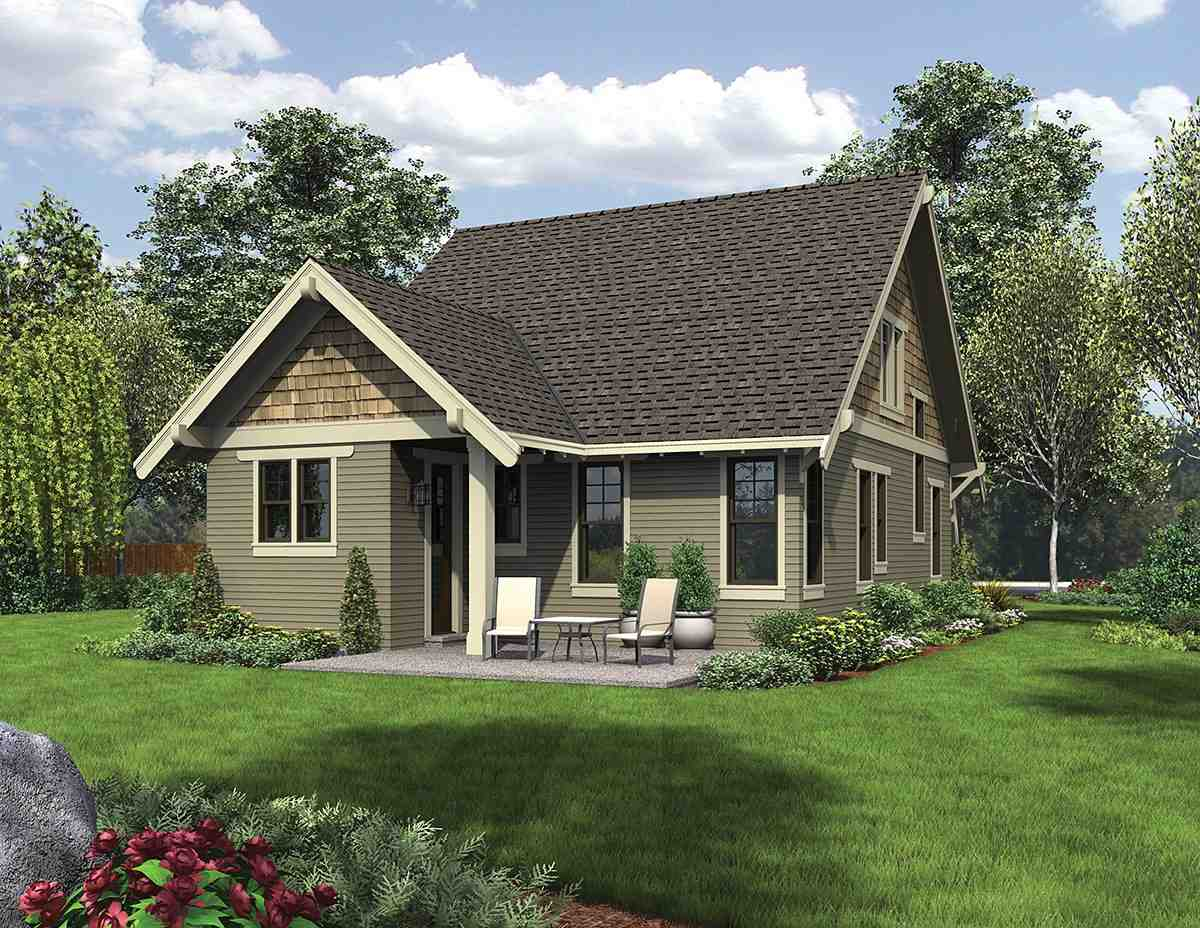 Bungalow, Cottage, Craftsman House Plan 81214 with 3 Beds, 3 Baths Rear Elevation