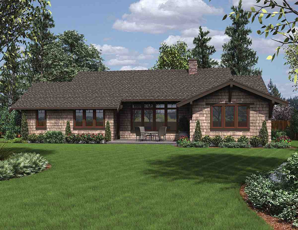 Bungalow, Craftsman House Plan 81229 with 3 Beds, 3 Baths, 2 Car Garage Rear Elevation