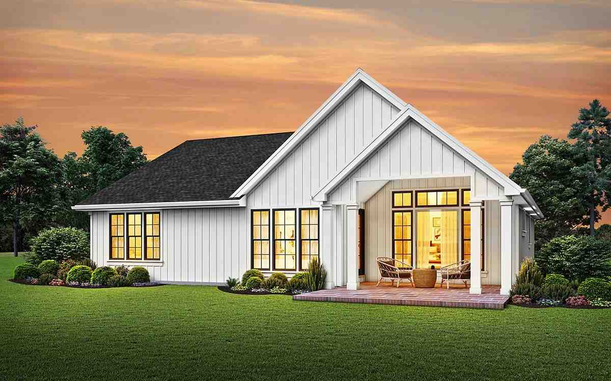 Cottage, Country, Ranch, Traditional House Plan 81241 with 3 Beds, 3 Baths, 2 Car Garage Rear Elevation