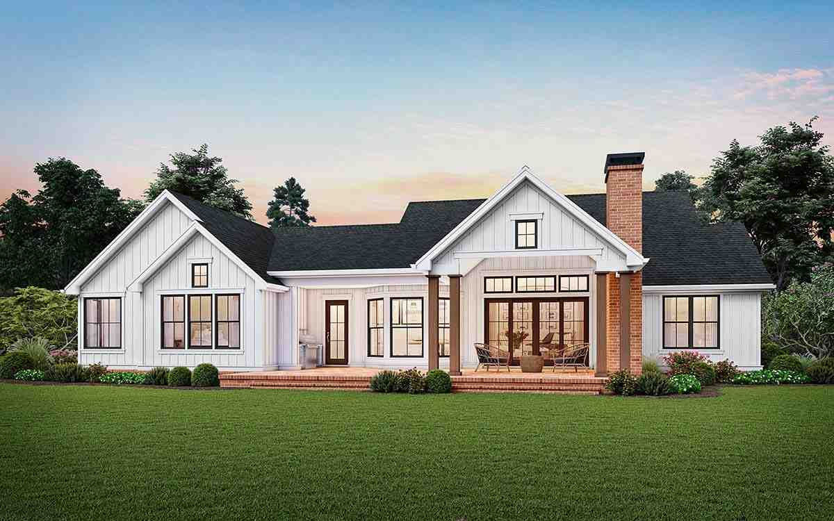 Cottage, Country, Farmhouse, Ranch House Plan 81243 with 3 Beds, 3 Baths, 2 Car Garage Rear Elevation