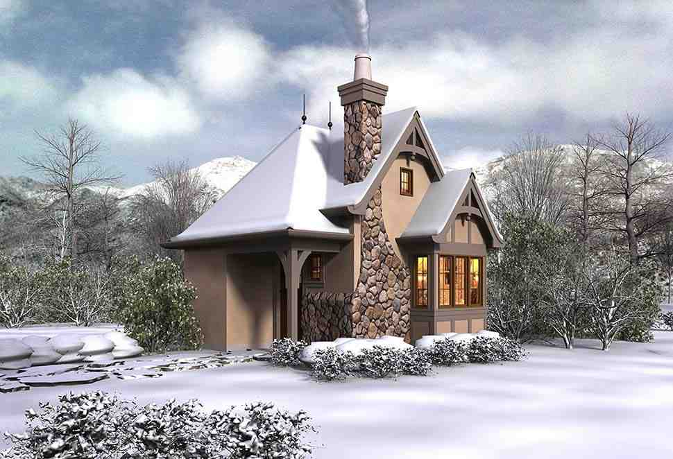 Cabin, Cottage, Narrow Lot, One-Story House Plan 81260 with 1 Beds, 1 Baths Picture 3