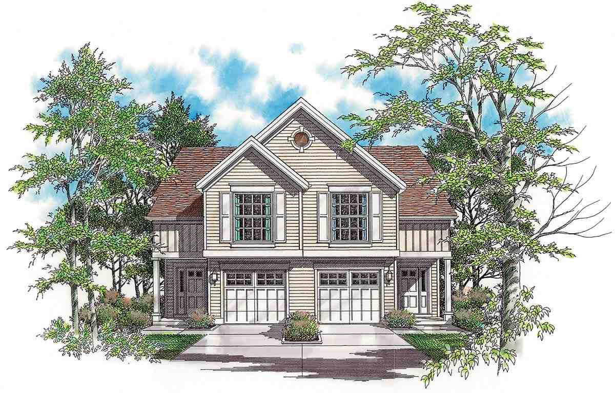 Traditional Multi-Family Plan 81288 with 6 Beds, 6 Baths, 2 Car Garage Elevation