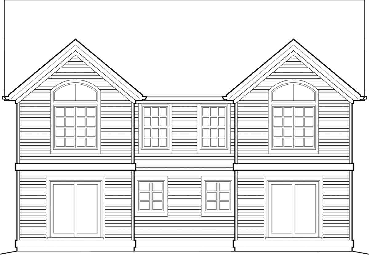 Traditional Multi-Family Plan 81288 with 6 Beds, 6 Baths, 2 Car Garage Rear Elevation