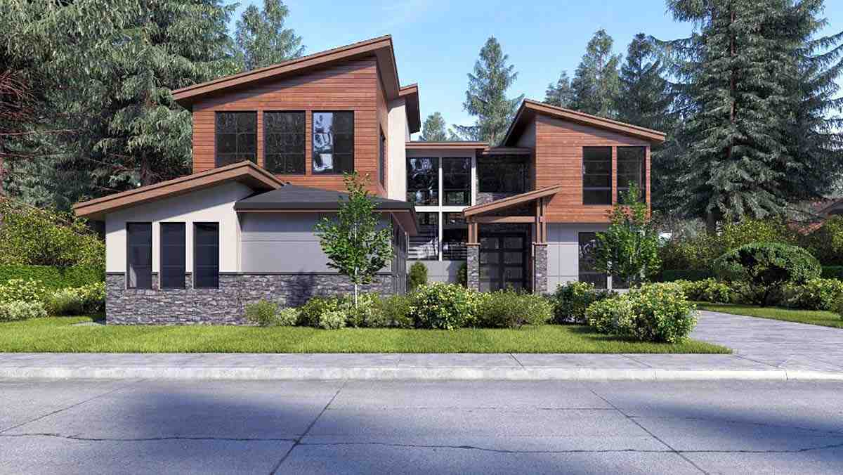 Contemporary, Modern House Plan 81932 with 4 Beds, 3 Baths, 3 Car Garage Elevation