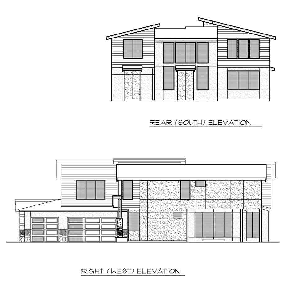 Contemporary, Modern House Plan 81932 with 4 Beds, 3 Baths, 3 Car Garage Picture 4