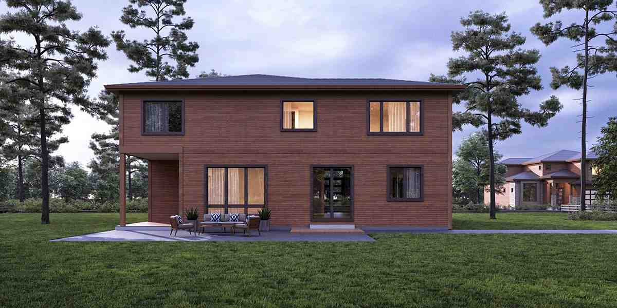 Contemporary, Modern House Plan 81936 with 4 Beds, 5 Baths, 3 Car Garage Rear Elevation
