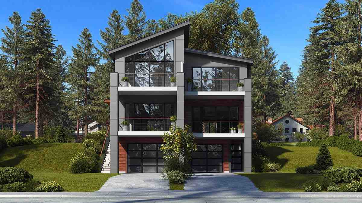 Contemporary, Modern Multi-Family Plan 81940 with 6 Beds, 6 Baths, 3 Car Garage Elevation