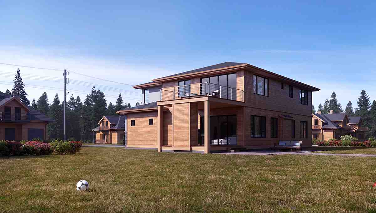 Contemporary, Modern House Plan 81945 with 4 Beds, 5 Baths, 3 Car Garage Rear Elevation