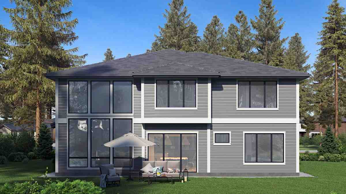 Contemporary, Modern House Plan 81959 with 5 Beds, 5 Baths, 2 Car Garage Rear Elevation