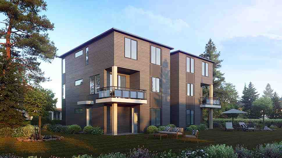 Contemporary, Modern Multi-Family Plan 81963 with 8 Beds, 8 Baths, 4 Car Garage Picture 2