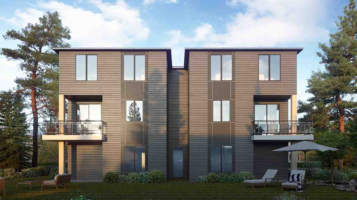 Contemporary, Modern Multi-Family Plan 81963 with 8 Beds, 8 Baths, 4 Car Garage Rear Elevation