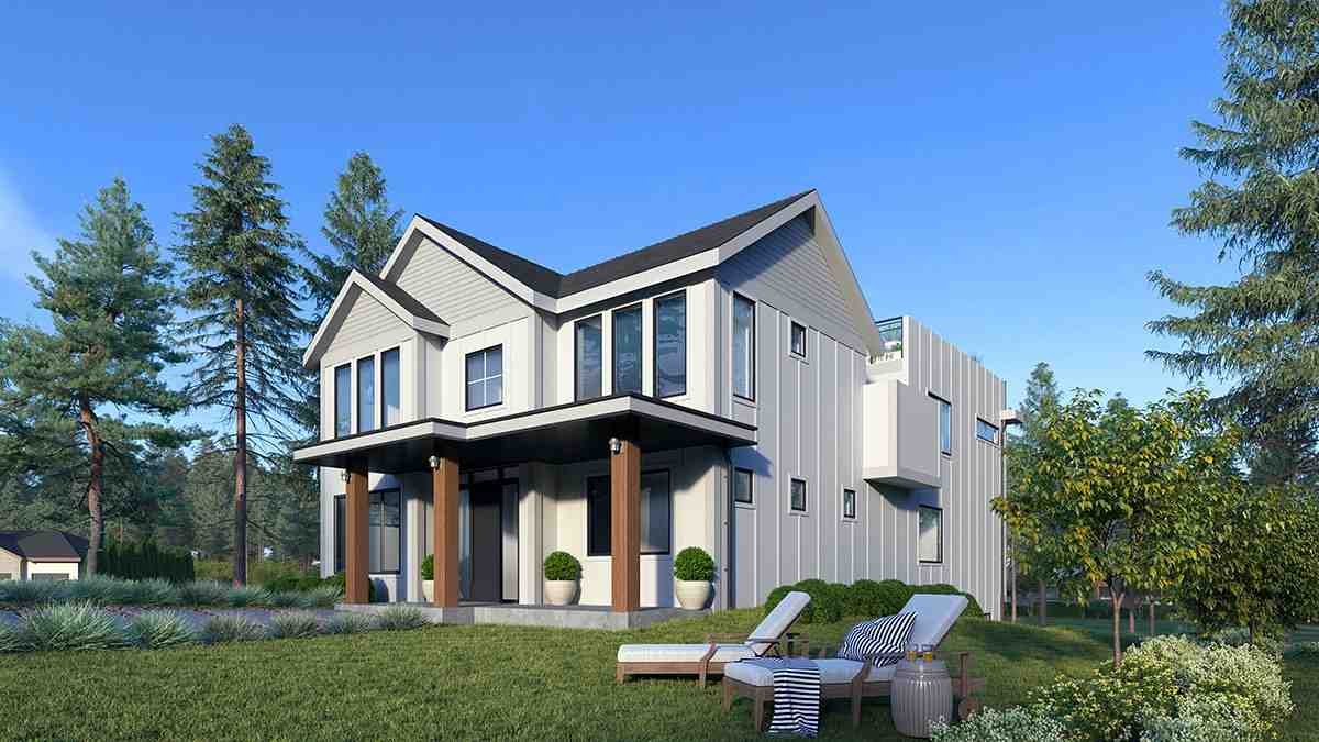 Modern House Plan 81981 with 5 Beds, 5 Baths, 2 Car Garage Rear Elevation