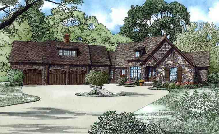 European Multi-Family Plan 82178 with 3 Beds, 5 Baths, 4 Car Garage Elevation