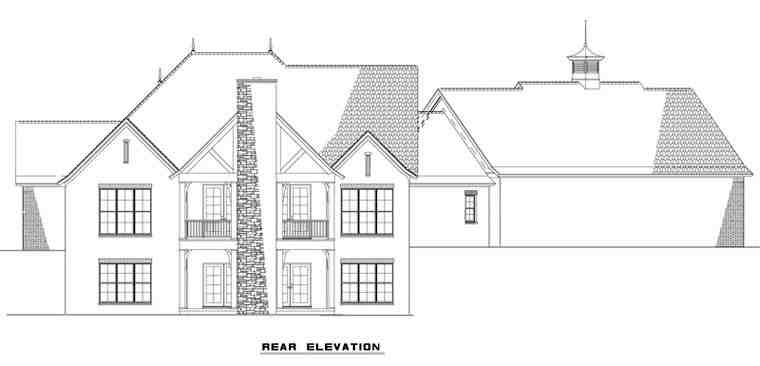 European Multi-Family Plan 82178 with 3 Beds, 5 Baths, 4 Car Garage Rear Elevation