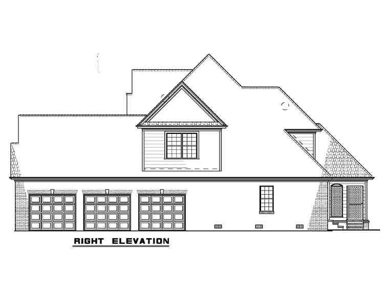 European House Plan 82241 with 4 Beds, 3 Baths, 3 Car Garage Picture 2