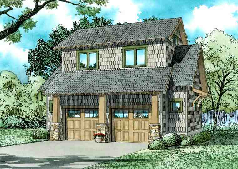 2 Car Garage Apartment Plan 82323 with 1 Beds, 1 Baths Elevation