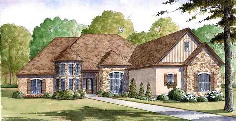 European House Plan 82401 with 4 Beds, 4 Baths, 4 Car Garage Elevation